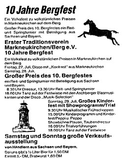 Programm des 10. Bergfestes 1990