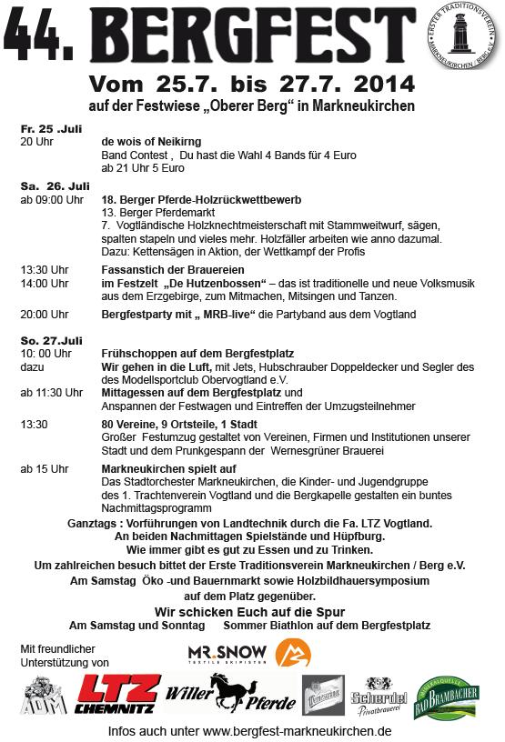 """Bergfest Programm: vom 25.7. bis 27.7. 2014 auf der Festwiese """"Oberer Berg"""" in Markneukirchen"""