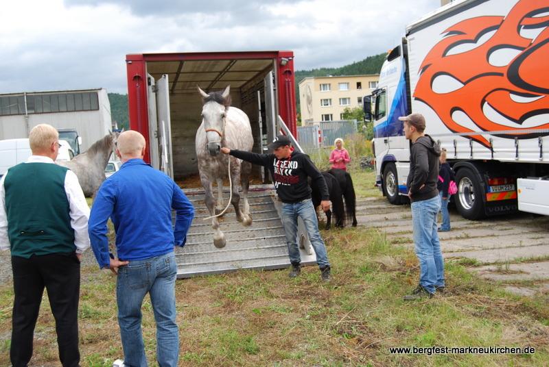 Hier werden die Pferde ausgeladen.