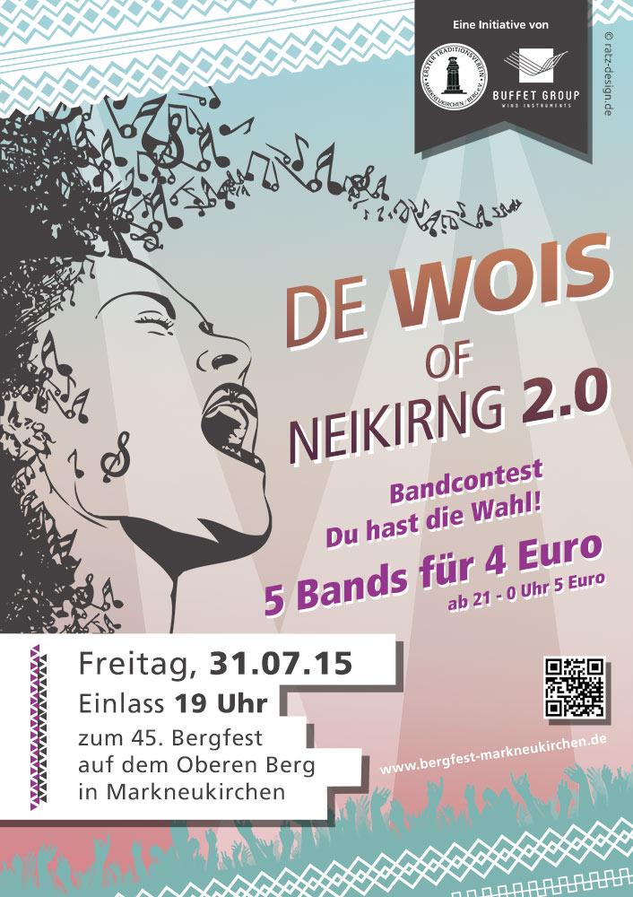 De woise of Neikirng 2015 - der Bandcontest zum 45. Bergfest in Markneukirchen 2015