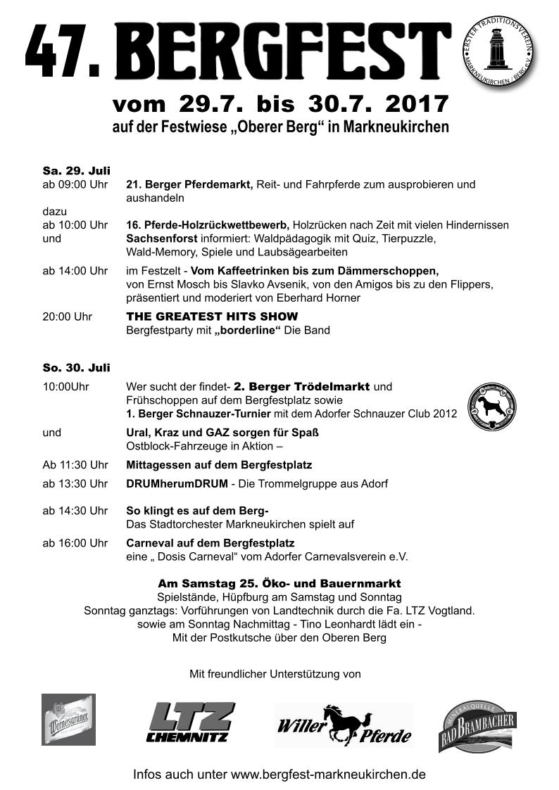 Bergfest 2017 markneukirchen programm